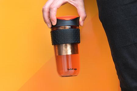 18oz Large Glass Travel Mug with Infuser